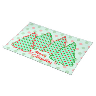 Red and Green Polka Dot Tree Cloth Place Mat