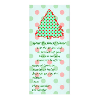 Red and Green Polka Dot Tree Rack Card Design