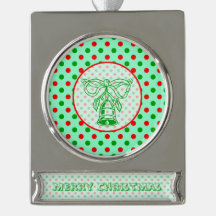 Red and Green Polka Dots Christmas Bell Silver Plated Banner Ornament