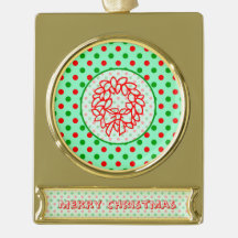 Red and Green Polka Dots Christmas Wreath Gold Plated Banner Ornament