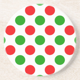 Red and Green Polka Dots Drink Coasters