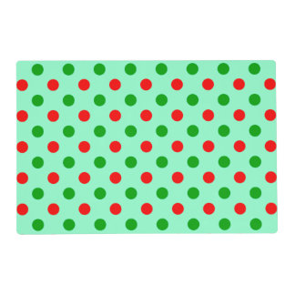 Red and Green Polka Dots Laminated Placemat