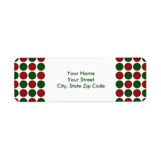 Red and Green Polka Dots on White address label