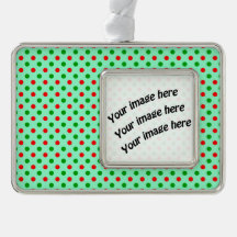 Red and Green Polka Dots Silver Plated Framed Ornament