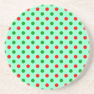 Red and Green Polka Dots Sandstone Coaster