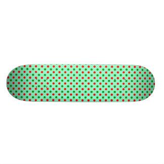 Red and Green Polka Dots Skate Board