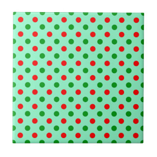 Red and Green Polka Dots Ceramic Tiles