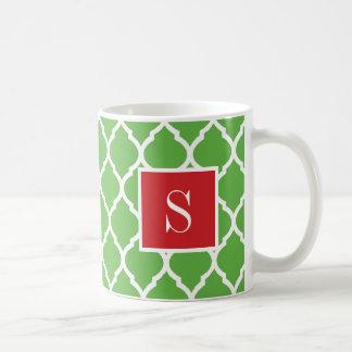 Red and Green Quatrefoil Monogram Coffee Mug