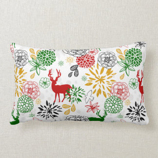 Red and Green Reindeer and Flowers Holiday Lumbar Cushion