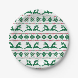 Red and Green Reindeer Ugly Sweater Paper Plate