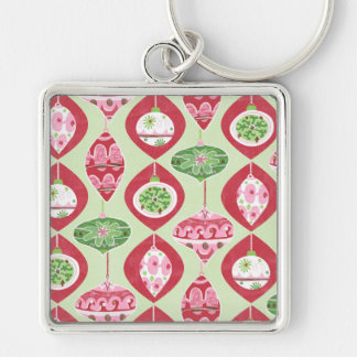 Red and Green Retro Christmas Ornaments Pattern Silver-Colored Square Key Ring