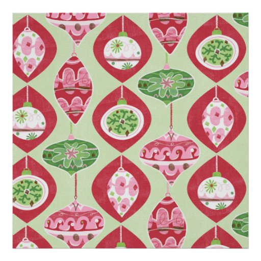 Red and Green Retro Christmas Ornaments Pattern Posters