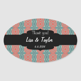 Red and green shapes pattern oval sticker