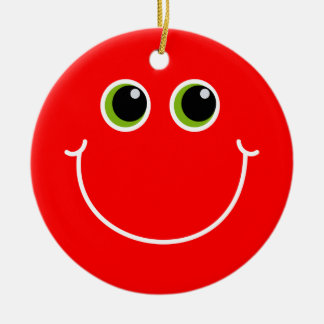 Red and Green Smiley Face Christmas Ornament
