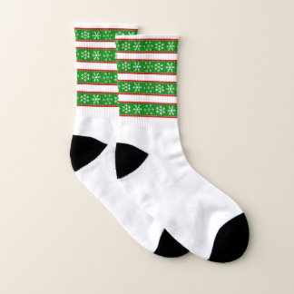 Red and Green Snowflake Socks 1
