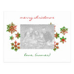 Red and Green Snowflakes Photo Holiday Card Postcard