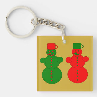 Red and green snowmen keychain