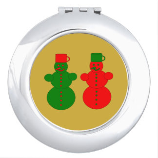 Red and green snowmen mirror for makeup