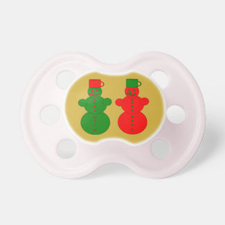 Red and green snowmen pacifier