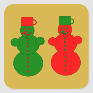 Red and green snowmen square sticker