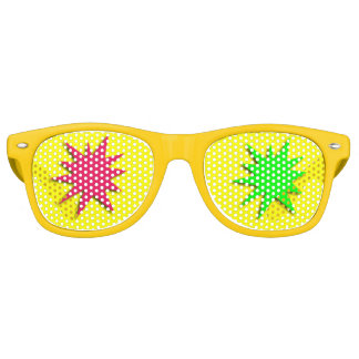 Red and Green Spatter Stars Retro Sunglasses