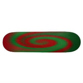 Red and Green Spirals Custom Skateboard