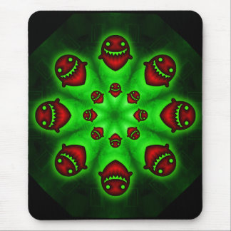 Red and green Spooky Ghosts mousepad