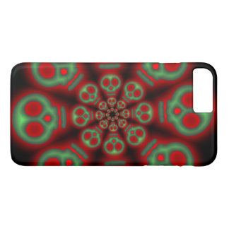 Red and Green Spooky Skulls 2 iPhone 7 Plus Case