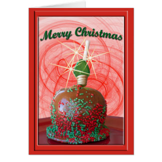 Red and Green Sprinkled Caramel Apple Greeting Card