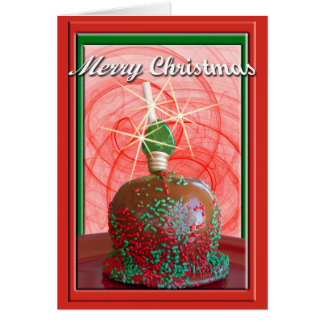 Red and Green Sprinkled Caramel Apple Cards