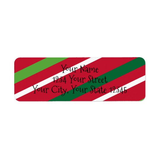 Red and Green Stripe Address Label