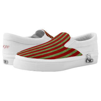 Red and Green Stripe Monogram Printed Shoes