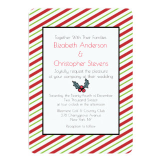 Red And Green Striped Christmas Wedding Invitation
