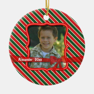 Red And Green Striped Keepsake Photo Ornament