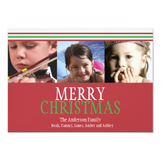 Red and Green Stripes Christmas Photo Card Invitations
