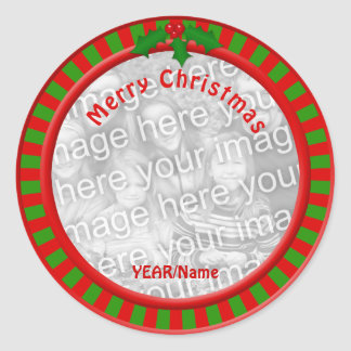Red and Green Stripes Christmas Photo Stickers