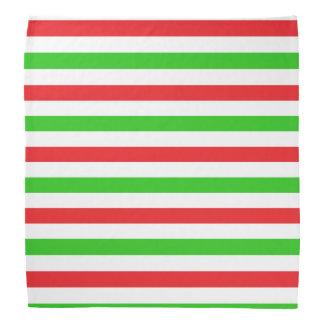 Red and Green Stripes Pattern Bandana