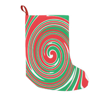 Red and green swirl pattern small christmas stocking