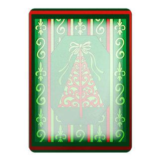 Red And Green Swirls Stripes Christmas Tree 13 Cm X 18 Cm Invitation Card