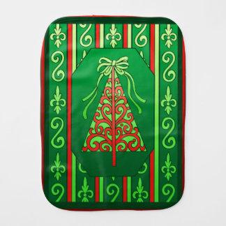 Red And Green Swirls Stripes Christmas Tree Burp Cloth