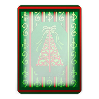 Red And Green Swirls Stripes Christmas Tree Announcement