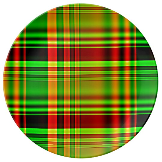 Red and Green Tartan Plaid Plate
