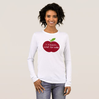 Red and Green Teacher's Apple Personalized Long Sleeve T-Shirt