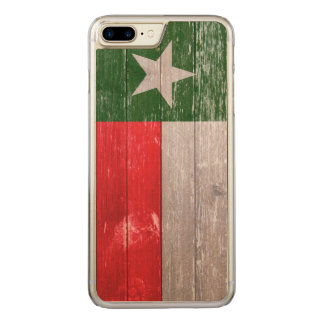 Red and Green Texas Flag Painted Old Wood Carved iPhone 7 Plus Case