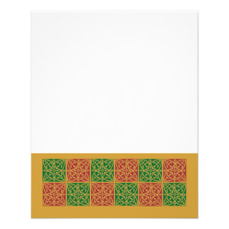 Red and Green Tile Art on Gold Pattern 11.5 Cm X 14 Cm Flyer