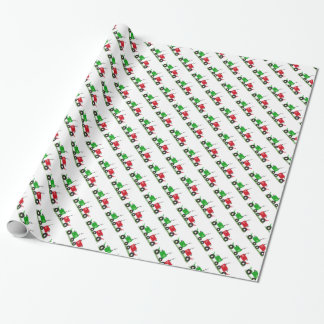 Red and Green Tractor Wrapping Paper