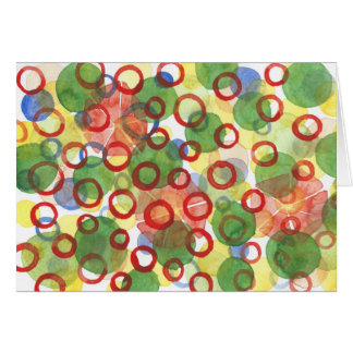 Red and Green Watercolour Circles Note Card