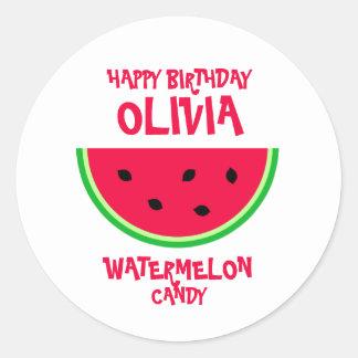 Red And Green Watermelon Happy Birthday Round Sticker