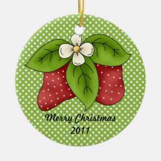 Red and Green Winter Christmas Strawberry Design Christmas Ornament