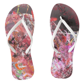Red and Grey Abstract No.4 Flip Flops